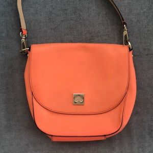 coral Kate Spade crossbody saddle bag